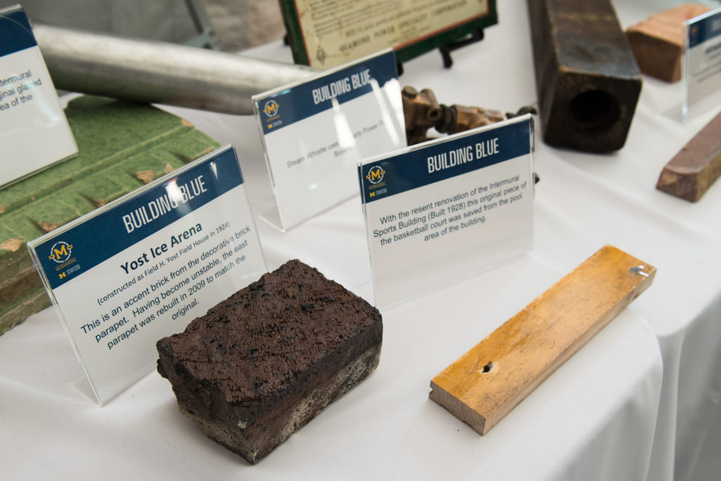Pieces of Yost Ice Arena and the intramural sports building on display.