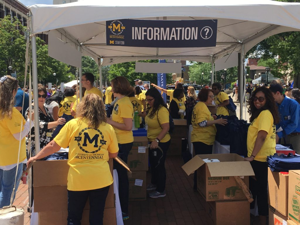 An information booth at MSTAFF200