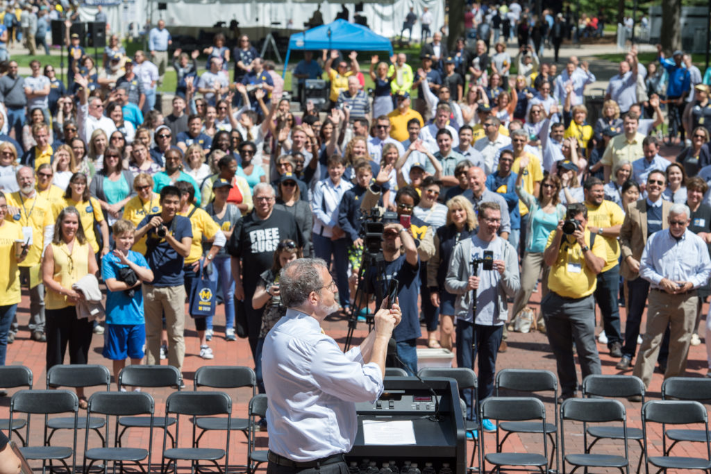 President Schlissel addresses the crowd and takes a photo at MSTAFF200.