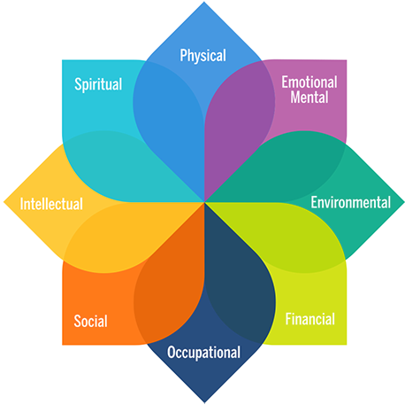 MHealthy's 8 dimensions of well-being